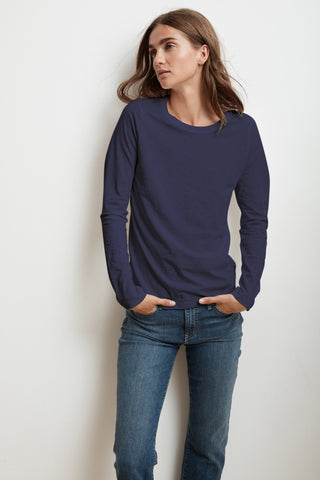 LIZ LONG SLEEVE ROUND NECK TEE IN ATLAS