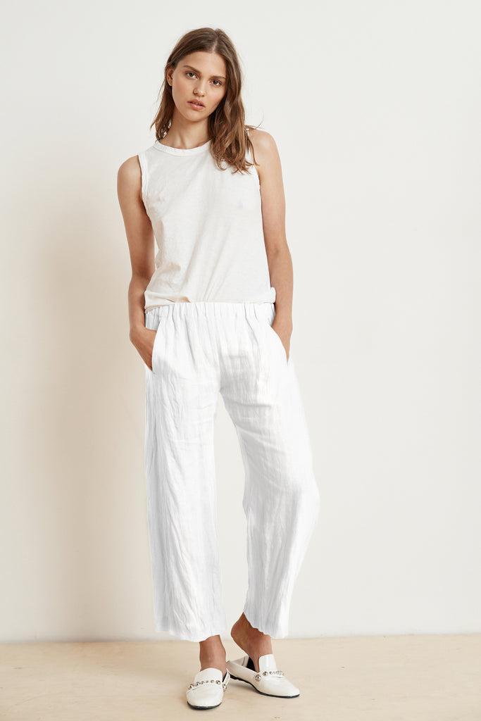 LOLA LINEN TROUSERS IN WHITE