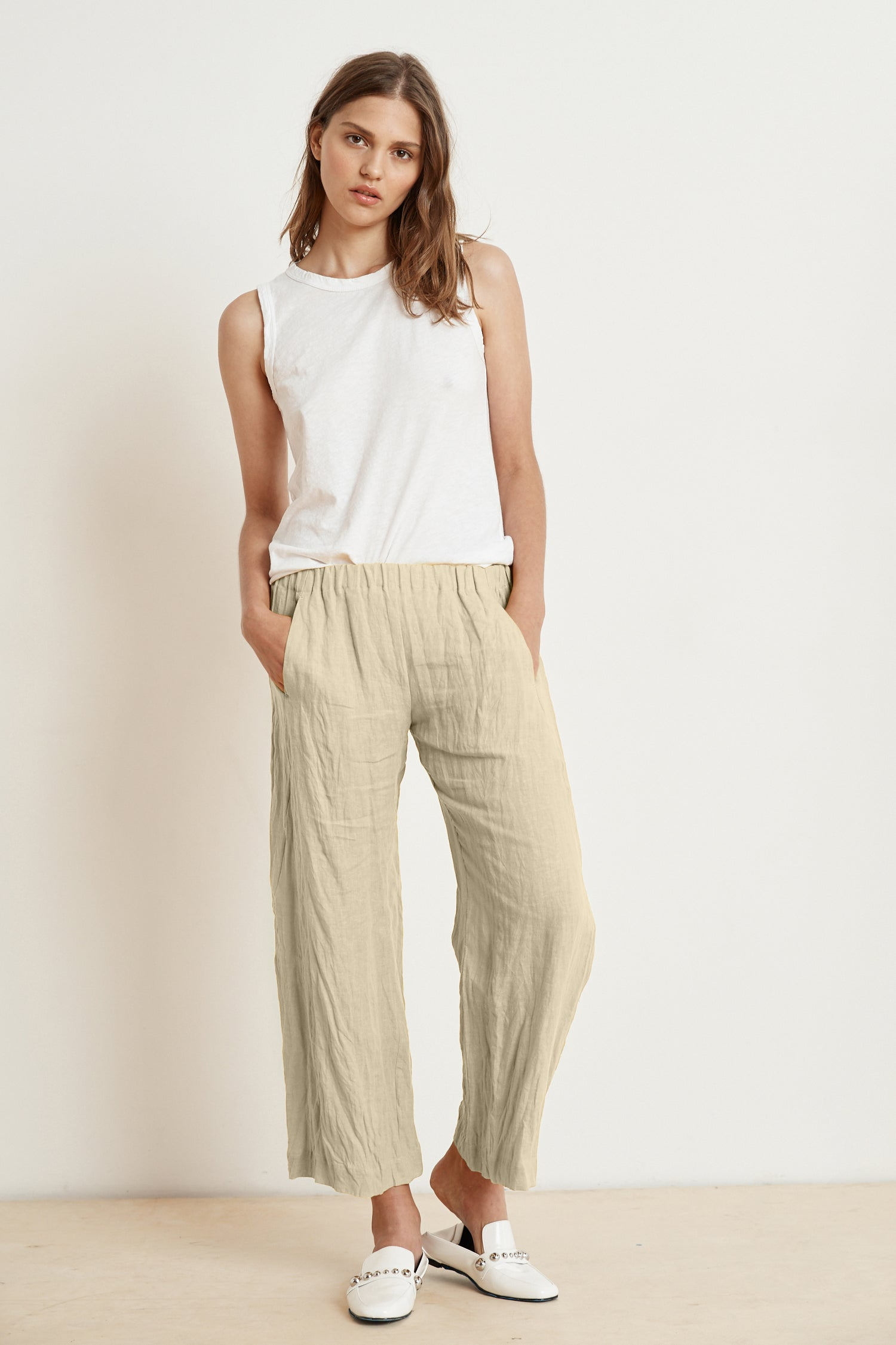 LOLA LINEN TROUSERS IN CAFE