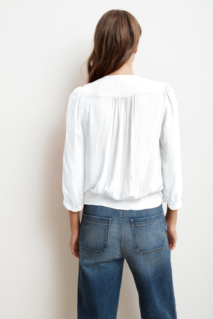 LOTTIE RAYON CHALLIS WRAP BLOUSE IN WHITE