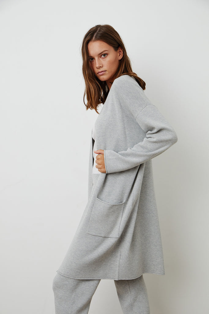 ADORE OPEN CARDIGAN IN HEATHER GREY