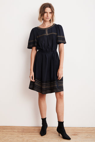BEATRIX LUREX EMBROIDERED VISCOSE BELTED DRESS IN NAVY