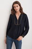GRACE LUREX EMBROIDERED VISCOSE TIE BLOUSE IN NAVY