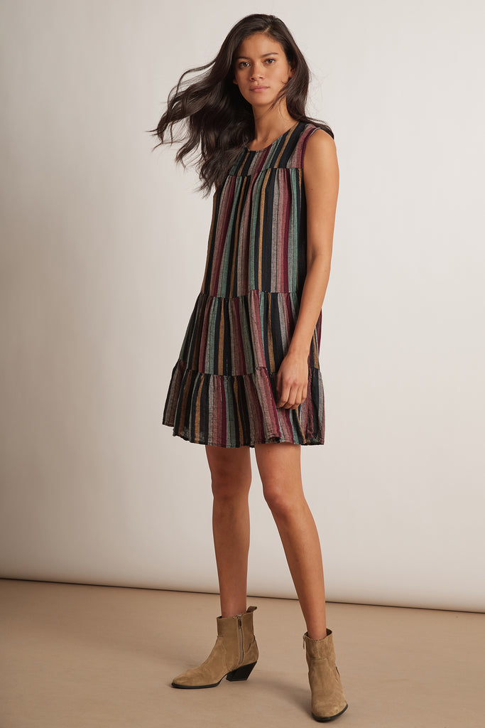 LEIGHTON LUREX STRIPE DRESS IN MULTI