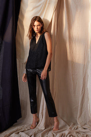 HONEY VEGAN LEATHER PANT IN BLACK