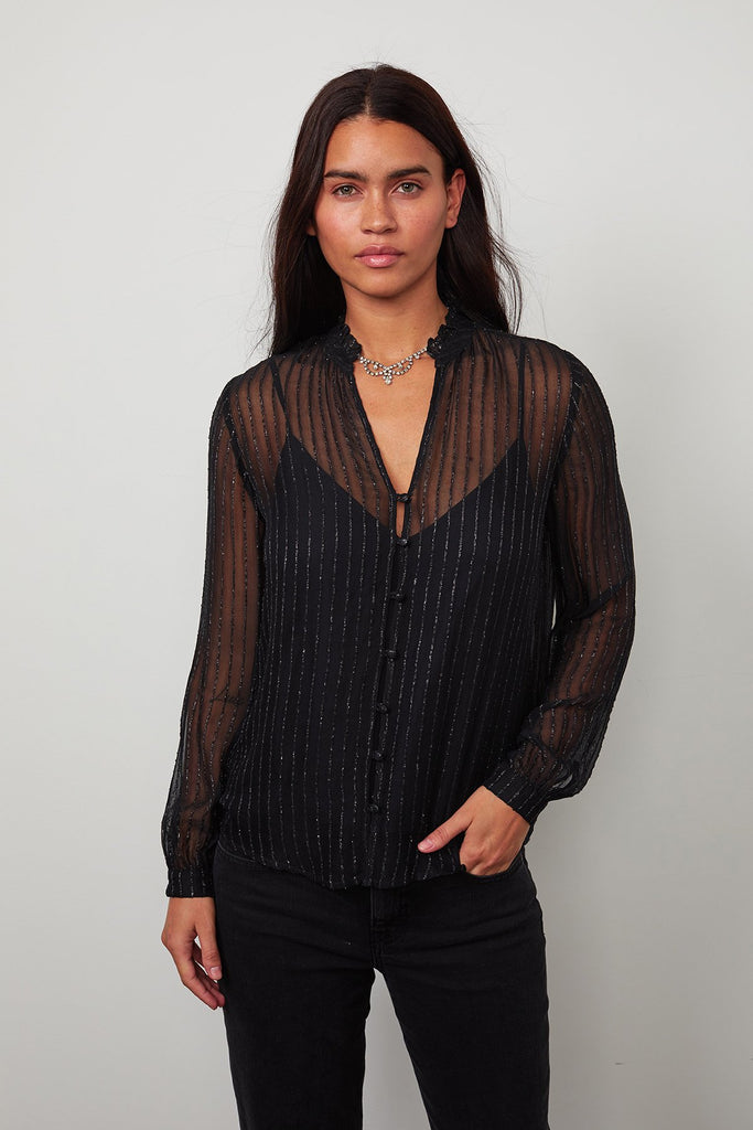 TOMEI LUREX STRIPED CHIFFON PEASANT BLOUSE IN BLACK