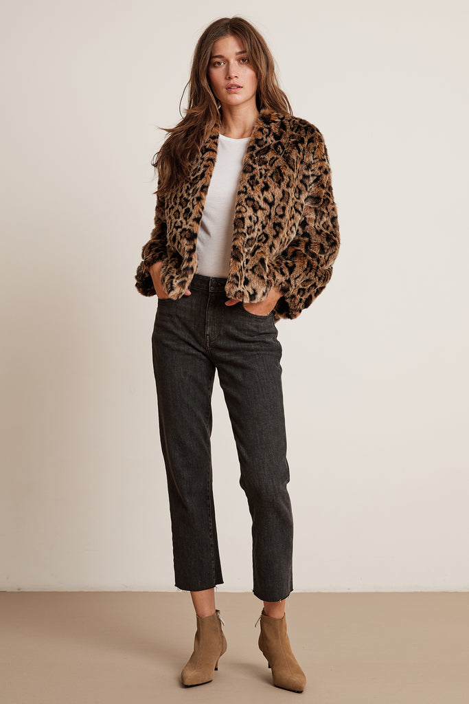 ANNE LUX FUR JACKET IN LEOPARD