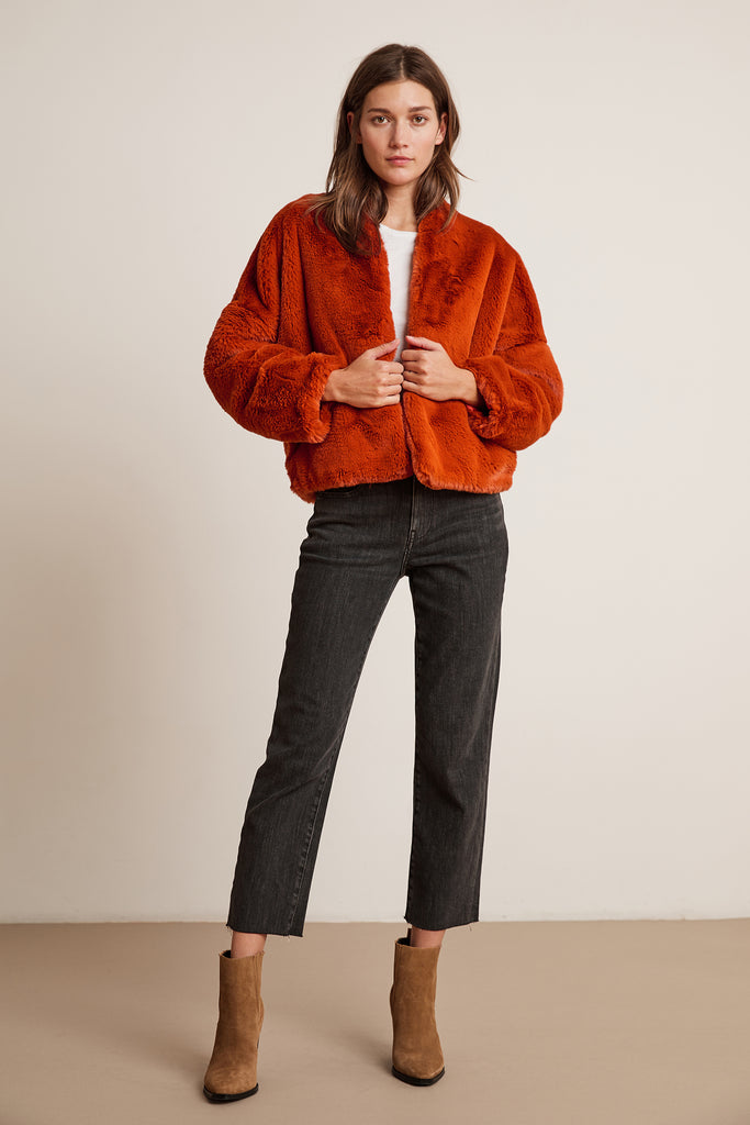ANNE LUX FUR JACKET IN RUST