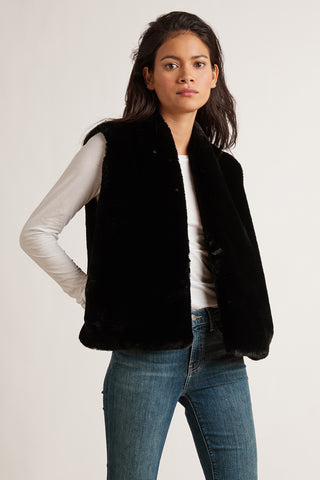 CHELLE LUX FUR VEST IN BLACK