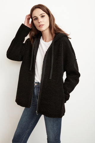 AERONA REVERSIBLE LUX SHERPA ZIP UP HOODIE IN BLACK