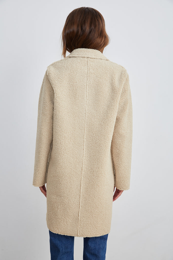 MERYL REVERSIBLE LUX SHERPA COAT IN ECRU