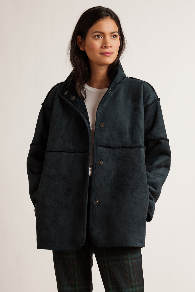 ALBANY LUX SHERPA OUTERWEAR JACKET IN NAVY
