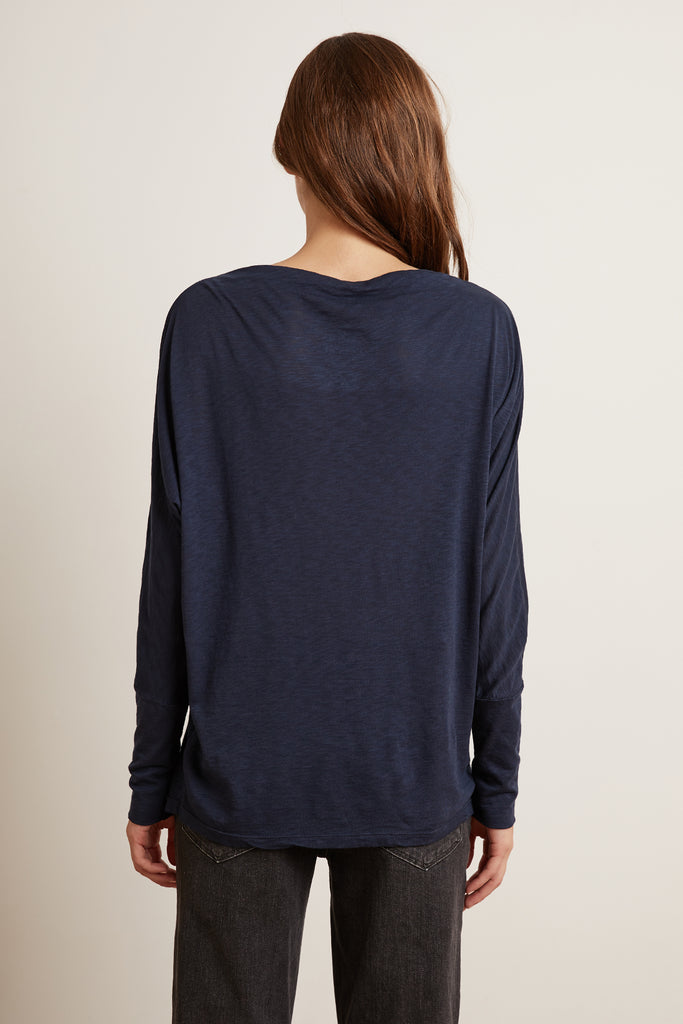 BEATRISA LUX SLUB LONG SLEEVE TEE IN INK