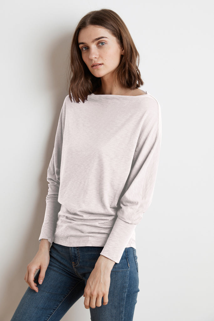 BEATRISA LUX SLUB LONG SLEEVE TOP IN MUSHROOM