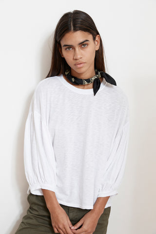 TOVAH LUX SLUB PEASANT TEE IN WHITE