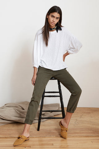 MARGOT COTTON TWILL MILITARY CUFFED PANT IN EXHAUST IN FOREST