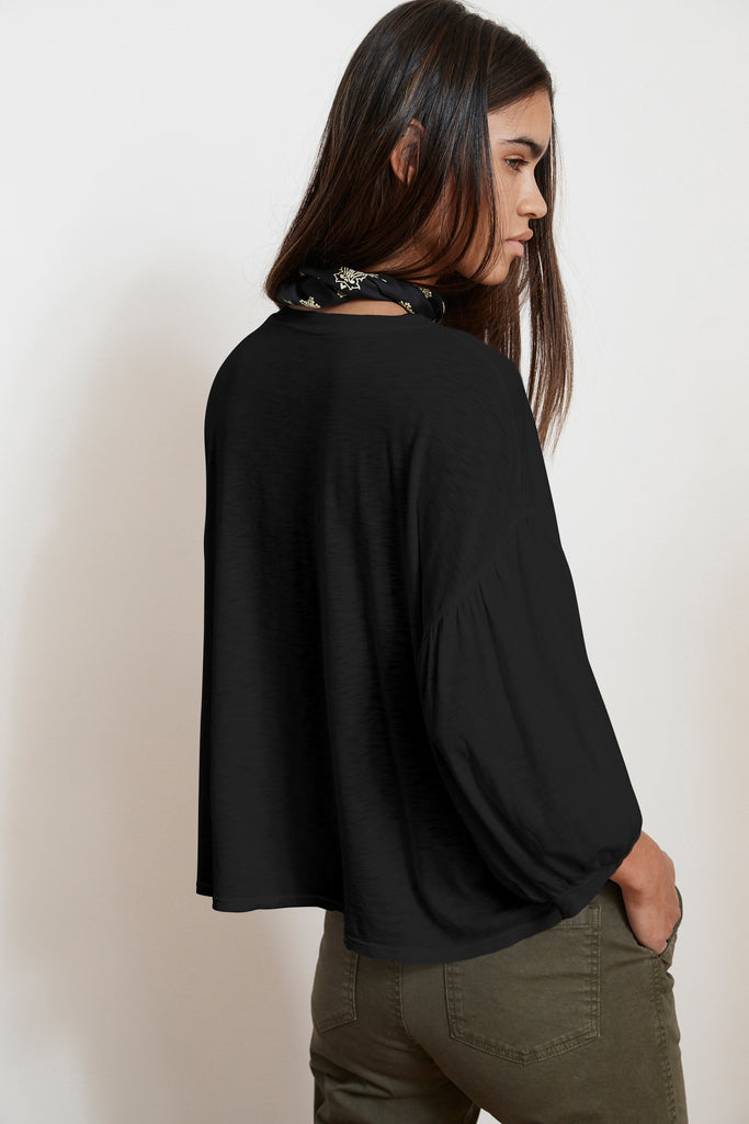 TOVAH LUX SLUB PEASANT TEE IN BLACK
