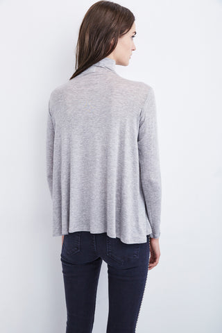 BAMMA LUX GAUZE TURTLE NECK TOP IN HEATHER GREY
