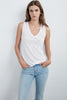 DAYTONA LUX SLUB V-NECK TANK IN WHITE