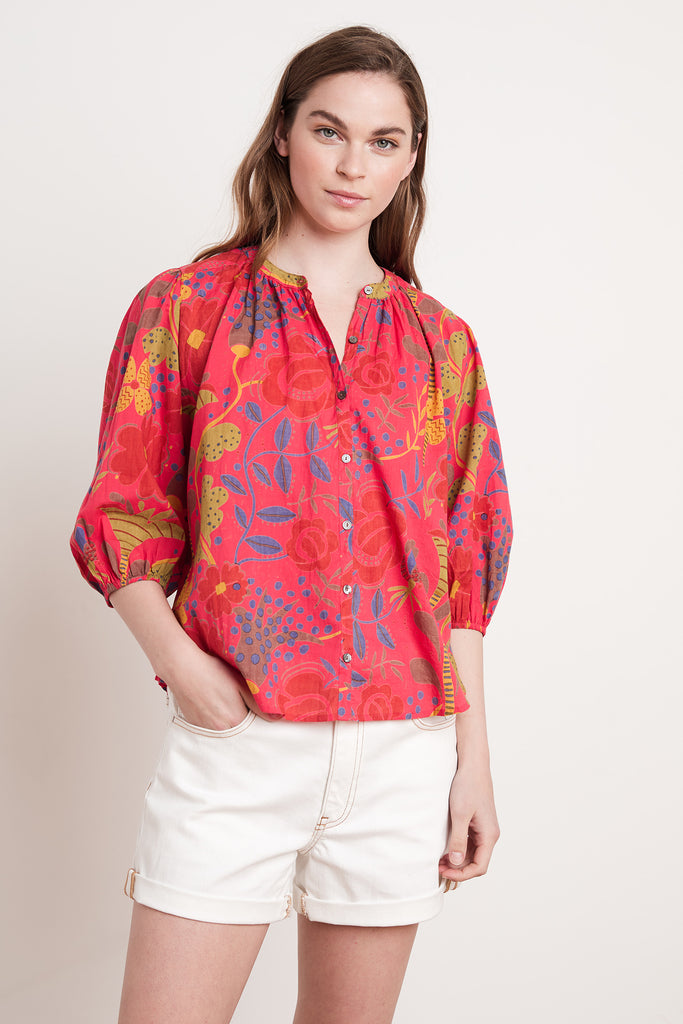 AFFIE MADRAS PRINTED VOILE TOP IN RED