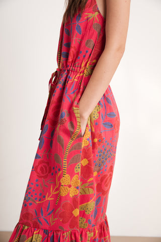 PURL MADRAS PRINTED VOILE DRESS IN RED