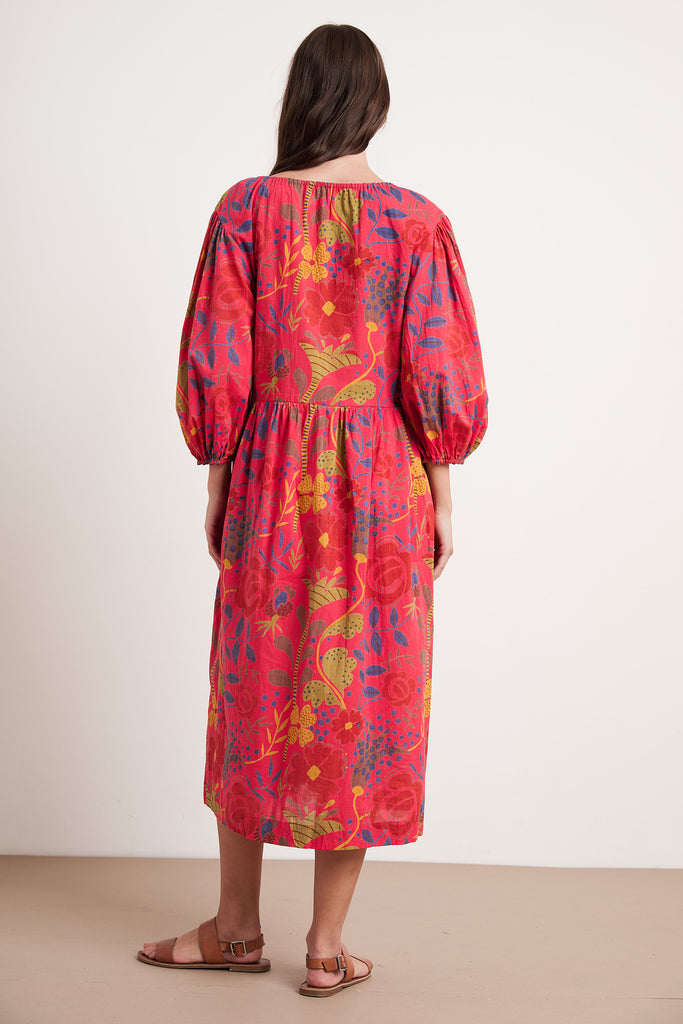 VIRGINIA MADRAS PRINTED VOILE DRESS IN RED