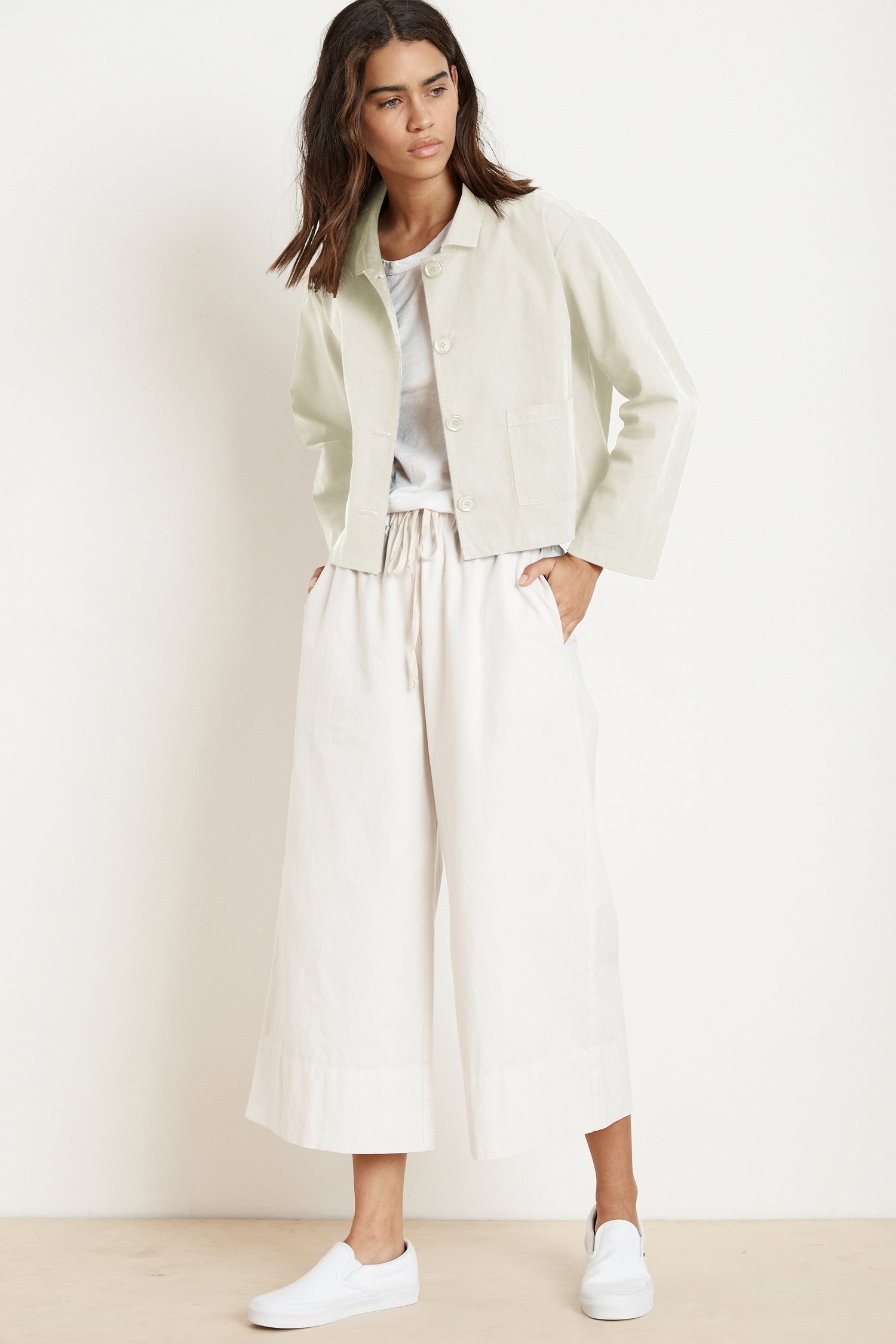 MAGDALIN COTTON CANVAS CROP JACKET IN BEACH