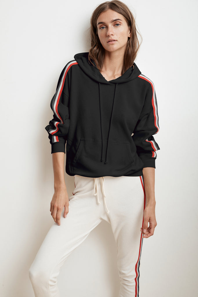 MCKENNA STRIPE TRIM TERRY HOODIE IN NIGHT