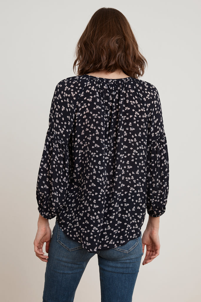 BESSY MIDNIGHT FLORAL LONG SLEEVE PEASANT TOP IN MIDNIGHT