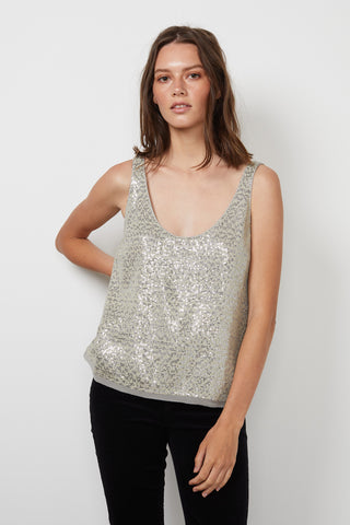 MILAN SEQUIN TANK TOP IN MELANGE