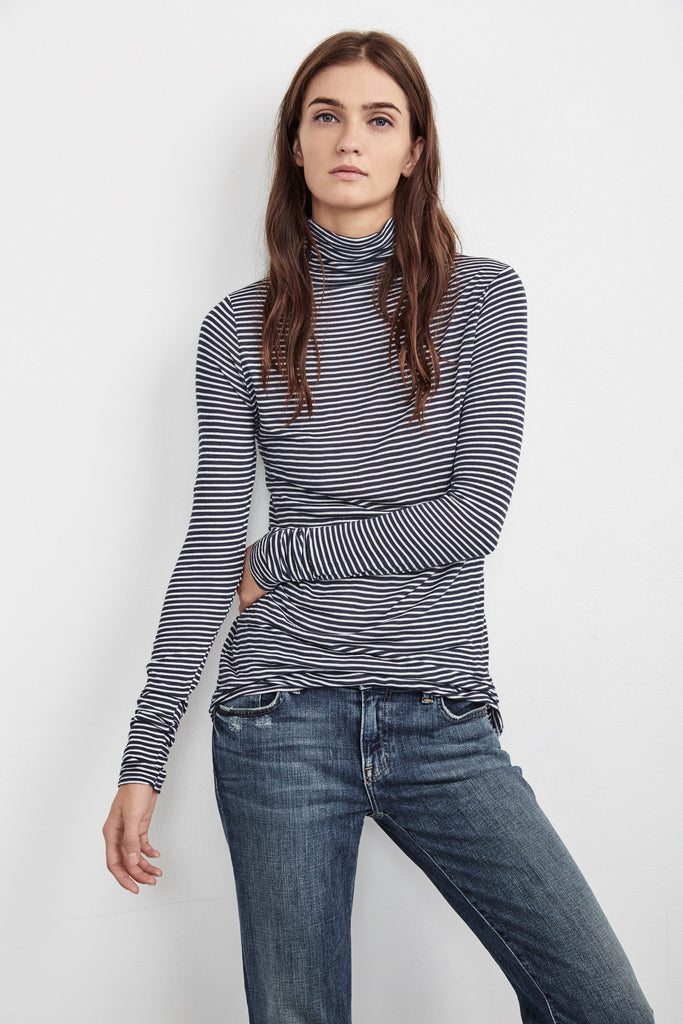 CATHARINE MINI STRIPE MOCK NECK IN CUBSCOUT