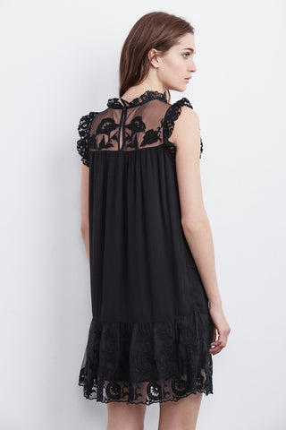 MARSHA MIXED LACE DRESS IN BLACK