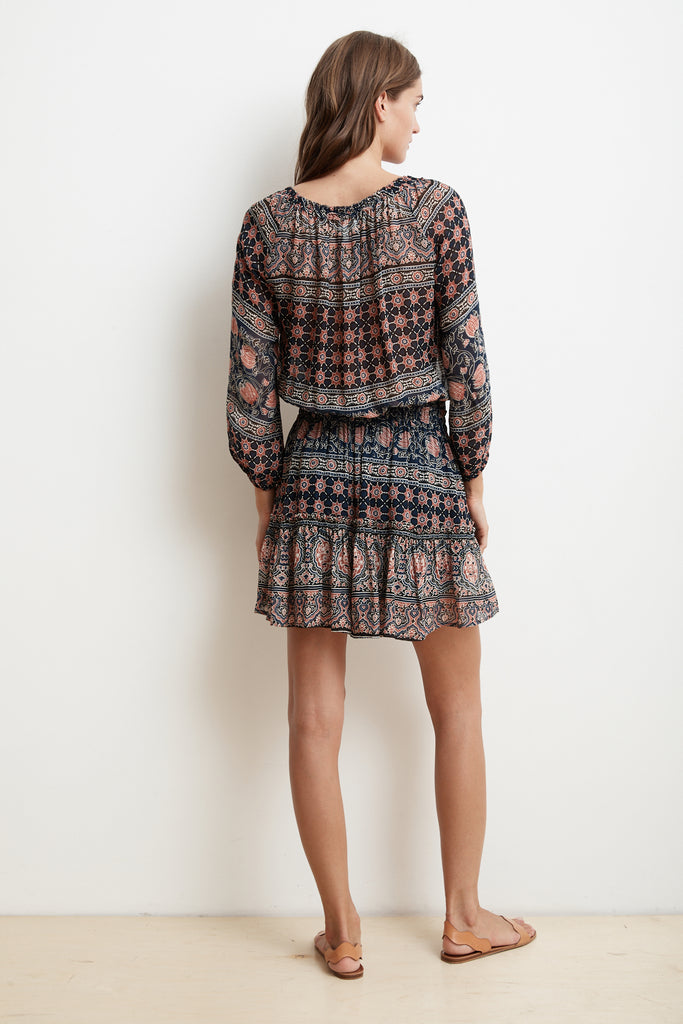 BETH MONACO PRINT CHIFFON PEASANT DRESS IN MULTI
