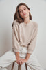 YARA COTTON 3/4 SLEEVE SWEATER IN PUTTY
