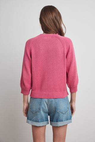 YARA COTTON 3/4 SLEEVE SWEATER IN ROSE