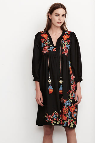 EMILIE EMBROIDERED PEASANT DRESS IN BLACK