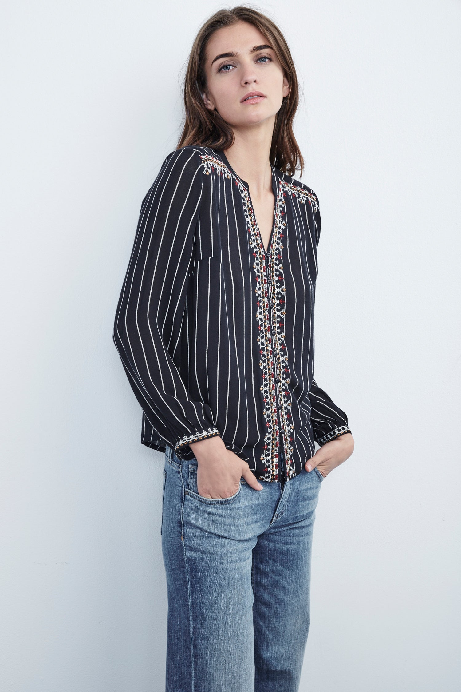 REMI BEADED BUTTON UP TOP IN STRIPE