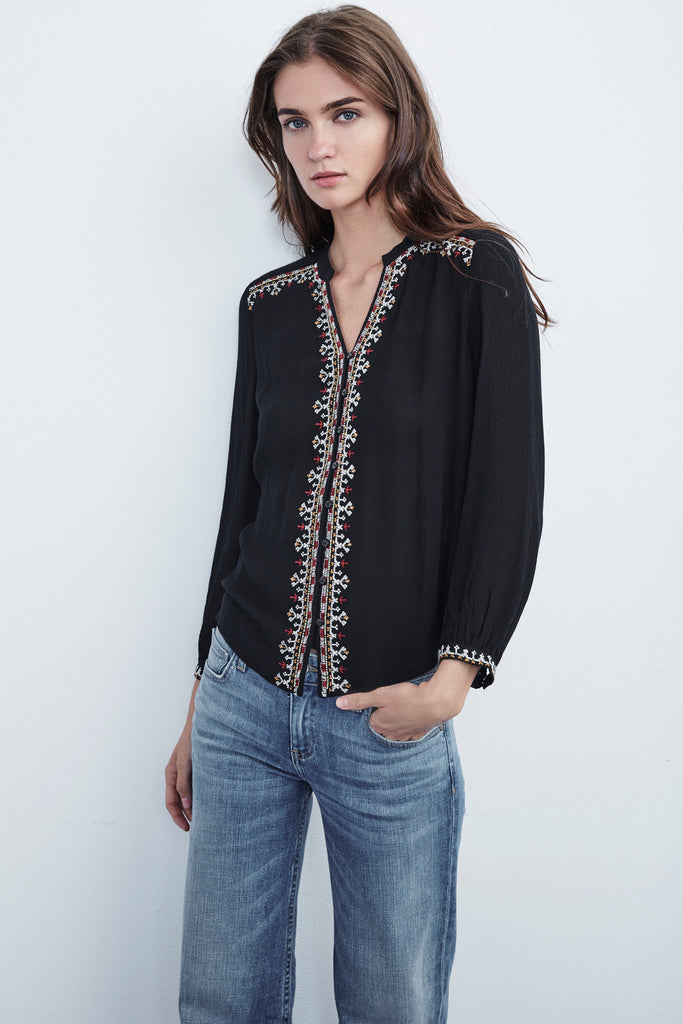 REMI BEADED BUTTON UP TOP IN BLACK