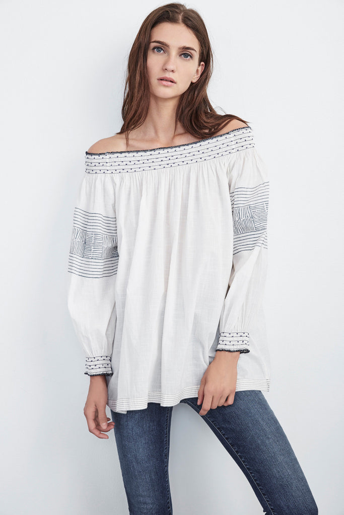 BRYNNA COTTON VOILE OFF THE SHOULDER TOP IN WHITE
