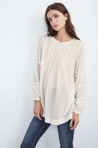 SANSA COTTON VOILE PINTUCK TOP IN CREAM