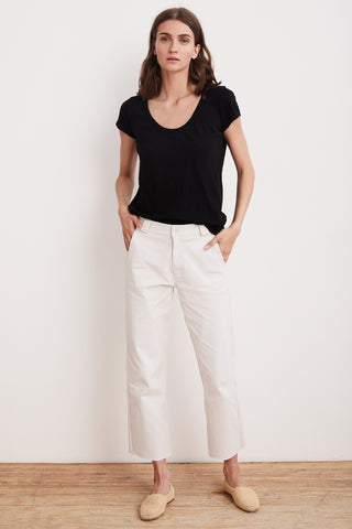 LIBRA HIGH RISE RAW EDGE PANT IN MOSAIC