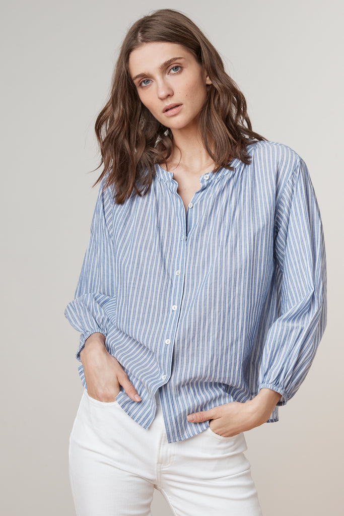 KIMO PINSTRIPE BUTTON UP SHIRT IN BLUE/WHITE