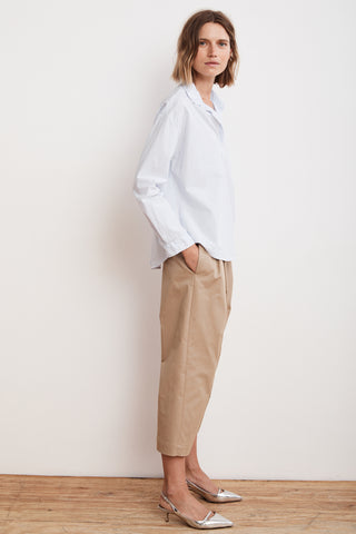 ENYA PLEATED CROPPED TROUSER PANT KHAKI