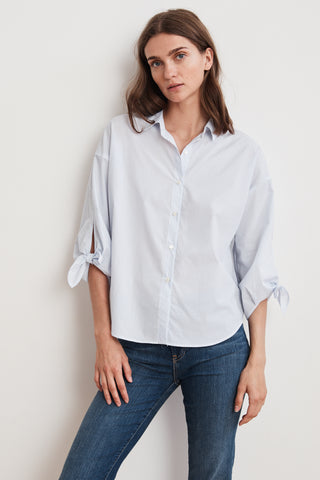 IRIS KNOT SLEEVE BUTTON UP SHIRT IN BLUE