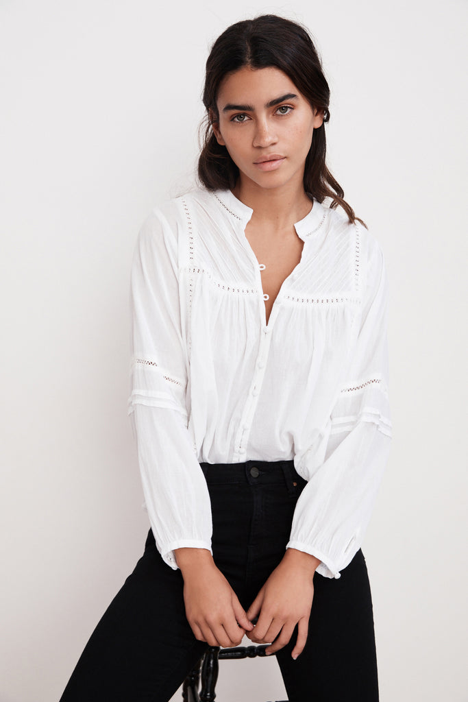 YADIRA PINTUCK VOILE BUTTON UP BLOUSE IN WHITE