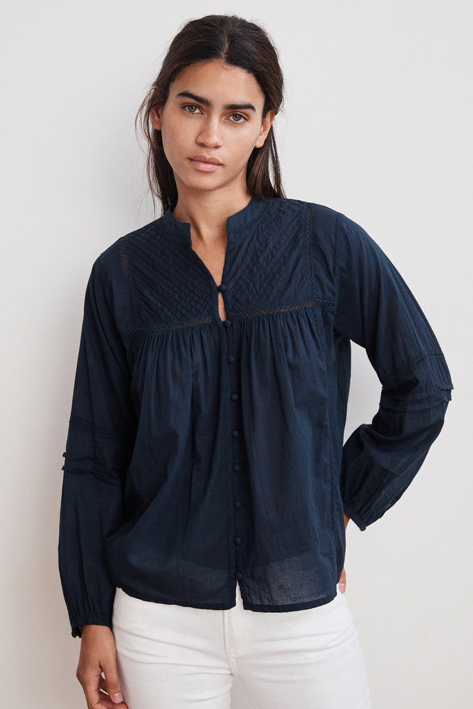 YADIRA PINTUCK VOILE BUTTON UP BLOUSE IN NAVY