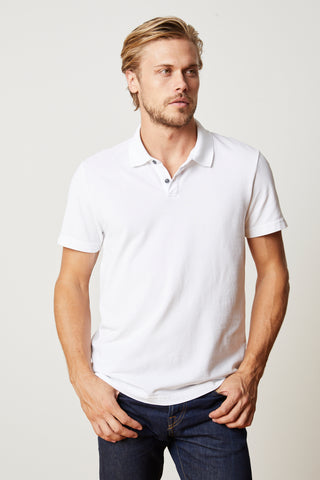 WILLIS COTTON PIQUE POLO IN WHITE