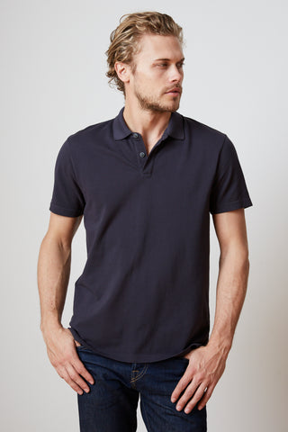 WILLIS COTTON PIQUE POLO IN MIDNIGHT