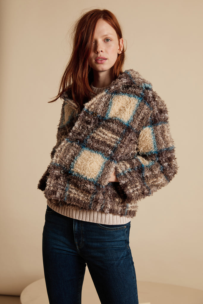 ERICA SHERPA JACKET IN PLAID