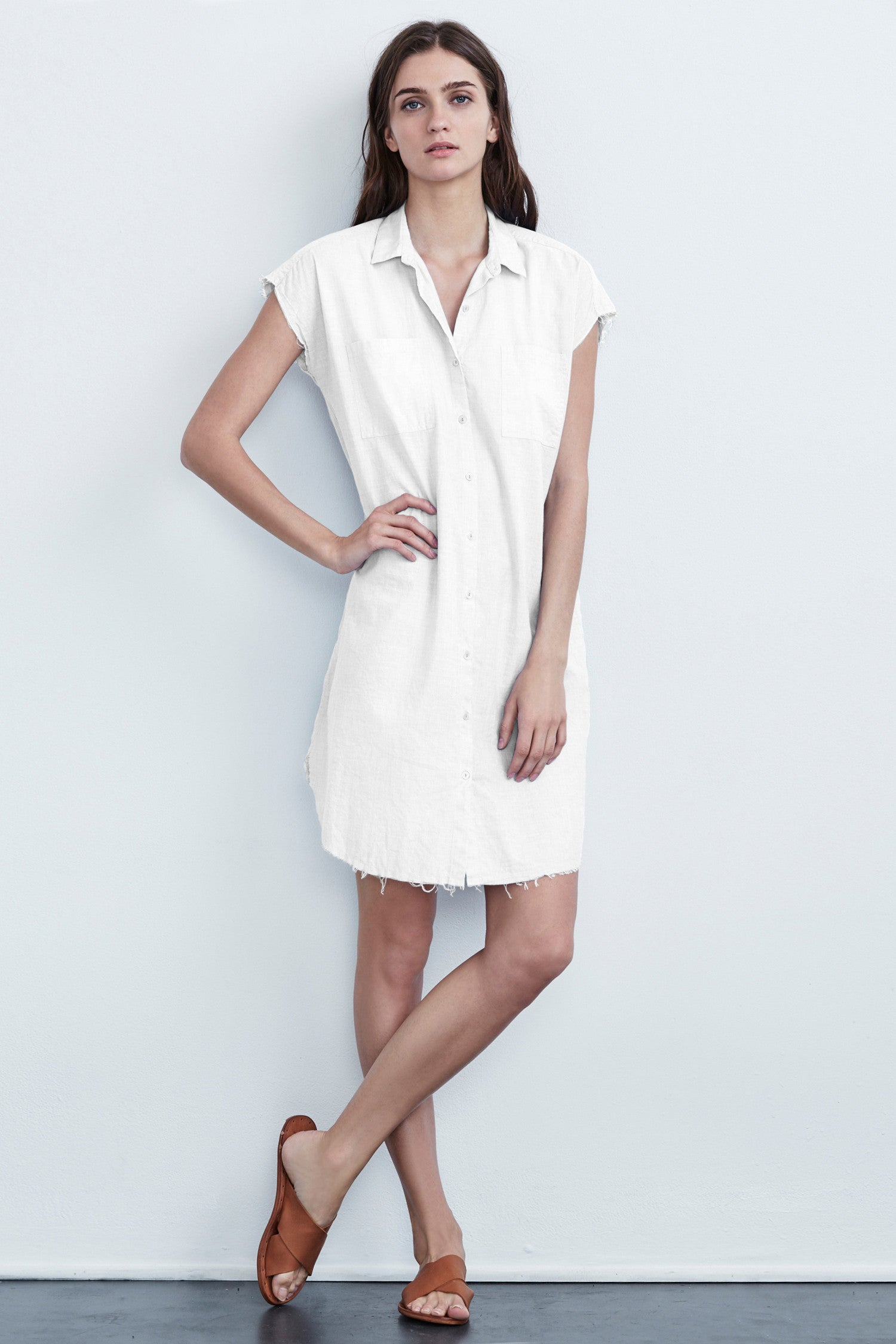 ARLEEN COTTON POPLIN BUTTON UP-DRESS IN WHITE